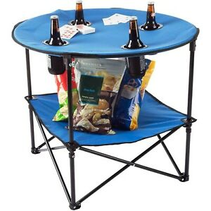 Blue 2 Tier Folding Portable Camping Table Outdoor Dining BBQ Picnic Party
