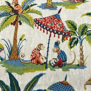 Exotic Monkey Parasol French Linen Fabric Upholstery Curtains Cheeky Per Meter