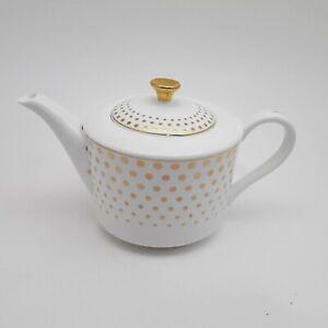 Grace's Teaware White & Gold Polka Dot Porcelain Teapot