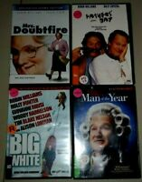 4 Robin Williams DVD's - FATHERS' DAY, MRS. DOUBTFIRE, MAN OF YEAR, BIG WHITE