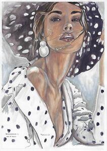 original drawing A4 143VL art samovar modern Mixed Media female portrait