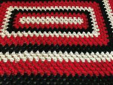 """Handmade Large Crocheted Blanket, White/Red/Black Rectangular Pattern, 72"""" x 84"""""""