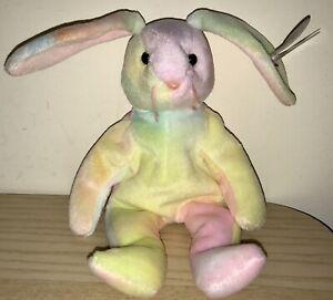 BNWT! TY Beanie Baby Hippie the Rabbit DOB May 4th 1998