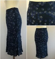 Hobbs Ladies Blue Floral Silk Sequin Midi Skirt SMALL UK 8/10 Peaky Blinders