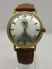 LUCH HAND WATCH MADE IN USSR GOLD PLATED AU 10+ / 23 JEWELS HAND WIND
