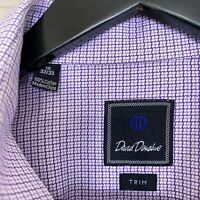 David Donahue Trim Fit Cotton Dress Shirt Purple Plaid Heavy Weave Mens 16 32/33