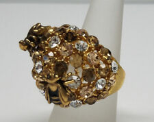 Sparkling Crystal Bumblebees Gold Ring Fashion > Womens Size 8 - >New<
