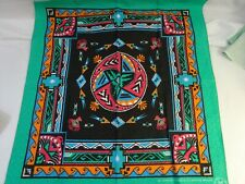 "Vintage 90s South Western Indian Textured Bandana by Wamcraft Usa Made 23"" x 21"""