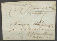 1785 Lettre marque linéaire GRIGNAN, mi-noir, mi-à-sec, de Chamaret DROME X4022