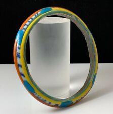 ANCIENT ROMAN DECORATED GREEN GLASS BRACELET 1ST-2ND CENT A.D.; Gorgeous colors!