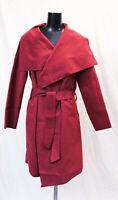boohoo Women's Plus Wool Look Wrap Front Coat SV3 Berry US:20 UK:24 NWT