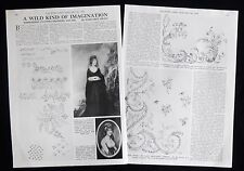 GEORGIAN & REGENCY EMBROIDERY PATTERN DRAWERS DRAWING 2pp PHOTO ARTICLE 1978