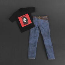 "1/6 Scale Male Cuba Hero T-shirt + Jeans + Belt Set For 12"" Male Figure Hot Toys"