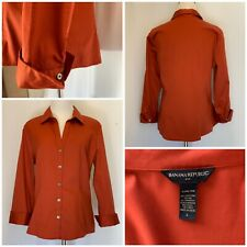Banana Republic Rust Button-Down Shirt cotton Satin Large