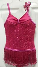 Raspberry Jazz Costume 6x-7 Dance Sequin front flower solo
