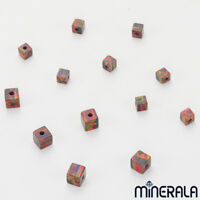[WHOLESALE] SYNTHETIC LAB CREATED OPAL FIRE RED CUBE BEADS  VARIOUS SIZES