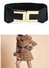Gold C Lady Wide Fashion Belt Women Black Cinch Waist Belt Elastic Stretch Gifts