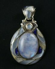 Moonstone Mother of Pearl Lapis Inlay Pendant Sterling Silver .925