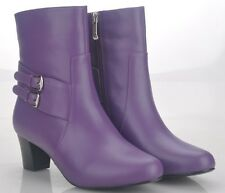 Women's Purple Leather Boots Size EUR 37, 38, 39, 40 WITH FREE BELT