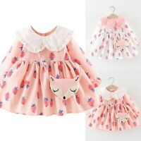 Toddler Baby Kid Girl Dress Ruffles Doll Collar Strawberry Dress Fashion Clothes