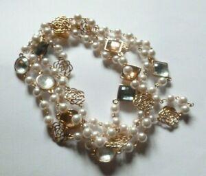 Collana donna lunga sautoir perle bianche rose color oro rosa cristalli grigi