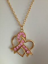 PINK CRYSTAL GOLD RIBBON BREAST CANCER AWARENESS HEART CHARM PENDANT NECKLACE