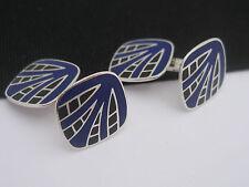 Antique Art Deco era 1920s Foster & Bailey Sterling Silver & Enamel Cufflinks