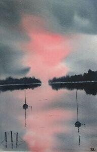 Original watercolour painting.  At storms end. Seascape.