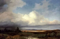 "Oil painting albert zimmerman - isarlandschaft bei gewitter storm landscape 36"""