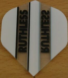 """5 Sets (5X3) """"White+Clear"""" Ruthless Dart Flights"""