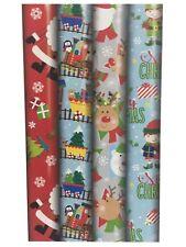 4 X 8m Cute Christmas Gift Wrap Wrapping Paper Roll Xmas Santa Snowman Elf 23616