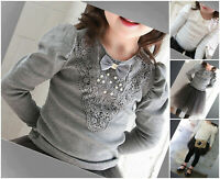 Blouse Girls Top Shirt Lace Autumn Winter Long Sleeve White Grey Age 3-10 years