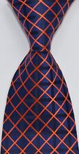 Geotae Zerun New Classic Plaids Checks Blue Orange JACQUARD WOVEN Men's tie