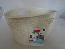 Curver Victoria Lace Effect Rattan Storage Basket Organiser (7 Litre) Cream NEW