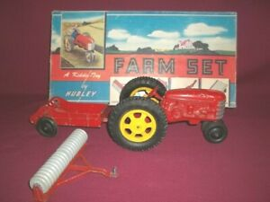Hubley Farm Set No 50 Tractor,Tiller,Manure Spreader Original Box Top 1950's