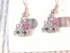 Hello Kitty Style Earrings Drop Dangle Small Clear & Pink Rhinestone silver tone