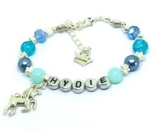 Personalised Blue girls Unicorn Crystal  & pearl Bracelet party Girly gift