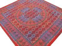 Couvre-lit indien Fait main Broderie Rouge Batik Dessus de lit Couverture Boho C