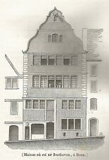 A5295 Casa di Beethoven a Bonn - Xilografia - Stampa Antica del 1842 - Engraving