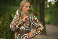 Russian traditional dress.Pavlovo posad shawl. Designer Clothing. Exclusive