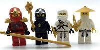 LEGO LOT OF 4 NINJAGO MINIFIGURES KAI SENSI WU NINJA COLE ZANE GUY MIX GENUINE