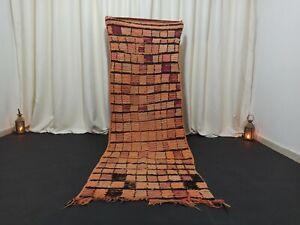 "Moroccan Berber Handmade Vintage Orange Checkered Rug 2'62"" x 7'87"" Feet Carpet"