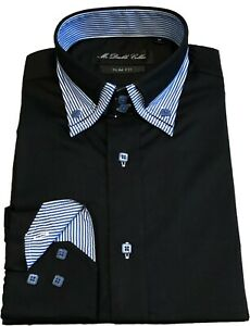 MENS OXFORD SHIRT SMART CASUAL FORMAL BLACK WITH BLUE DOUBLE COLLAR *UK Stock*