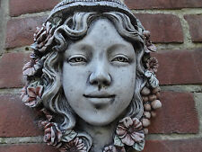 Flower Girl - Wall Hanging - Hand Cast Stone Garden Ornament