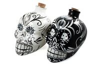Mexican Painted Candy Skulls Sugar Art Shaped Wine Decanter Bottle with Stopper