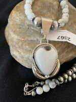 Navajo Pearls Sterling Silver WhBuffalo Turquoise Howlite Necklace Pendant 2867