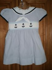 Carriage Boutique infant girls nautical smocked dress, anchors, size 12 months