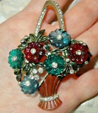 """Antique Fruit Salad Basket Pin Enameled W/ Floral Pattern From 1920s 2-3/4"""" X 2"""
