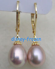 Gorgeous AAA+ 9-10mm natural south sea purple baroque pearl earrings 14k GOLD