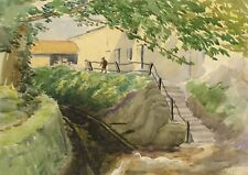 Walter Cristall, Rural Scene – Early 20th-century watercolour painting